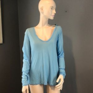 NWT James Perse Scoop Neck Cotton Blue Top